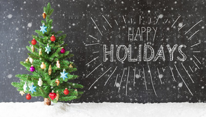 Colorful Christmas Tree, Snow, Calligraphy Happy Holidays, Snowflakes