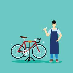 serviceman repair and maintenance bicycle