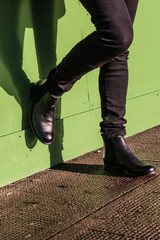 Black trousers and ladies vintage boots