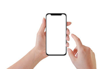 Woman hand holding modern black smartphone, isolated on white background