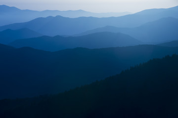 Blue Ridge Mountains Smoky Mountain National Park wide horizon landscape background layered hills and valleys