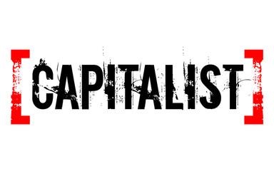 Capitalist sticker. Authentic design graphic stamp. Original series