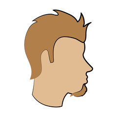bearded man avatar head sideview icon image vector illustration design