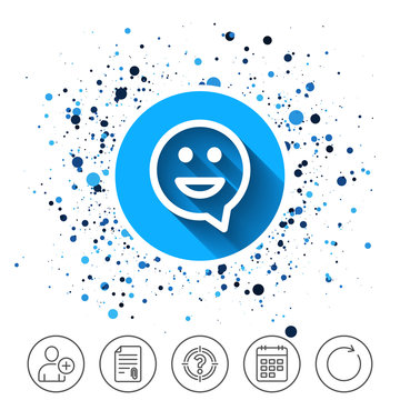 Happy face speech bubble symbol. Smile icon.