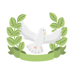 emblem with peace dove icon