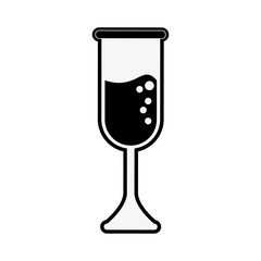 champagne glass icon image vector illustration design  black and white