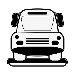 bus frontview icon image vector illustration design  black and white