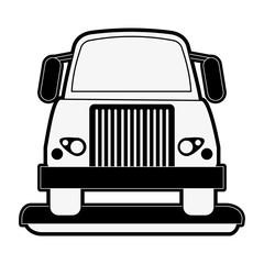 cargo truck icon image vector illustration design  black and white
