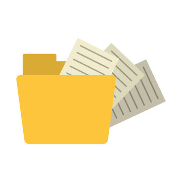 file folder with documents coming out icon image vector illustration design