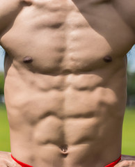 Close up on perfect abs. Strong bodybuilder with six pack man..Strong bodybuilder man with perfect abs, shoulders,biceps, triceps, chest, outdoor.