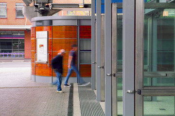 Aluminium Prints Train Station Railway station entrance with people