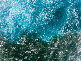 Aerial view of the Ocean texture where the river and sea meet