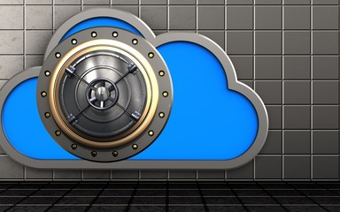 3d closed bank door cloud