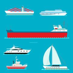Ship cruiser boat sea symbol vessel travel industry vector sailboats cruise set of marine icon