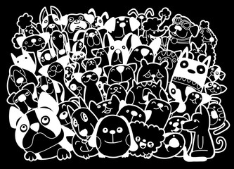 doodle dogs and cats group,Different pecies of dogs and cats, Vector Illustration