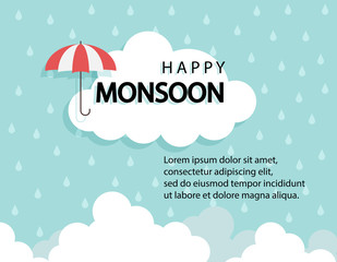 Happy Monsoon season background with cloud rainny and umbrella. sale banner. season off. discount poster. layout advertising. Rainy Season, Vector Illustration.