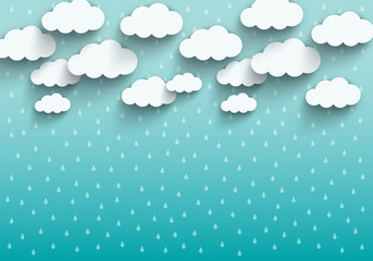 Monsoon season background with cloud and rain. sale banner. season off. poster advertising. Flat design for business marketing advertisement concept cartoon illustration. origami style.