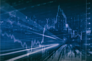 Abstract financial stock chart and cityscape in Double exposure style background