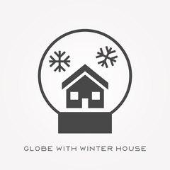 Silhouette icon globe with winter house