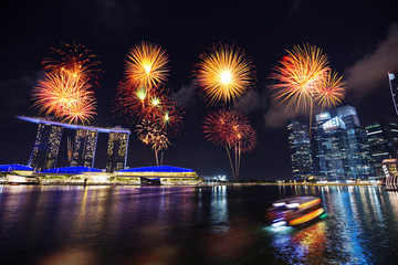 firework over marina bay at night, urban landscape of Singapore