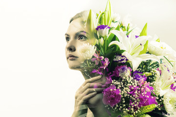 Flower and beauty. double exposure of flowers and beautiful woman.