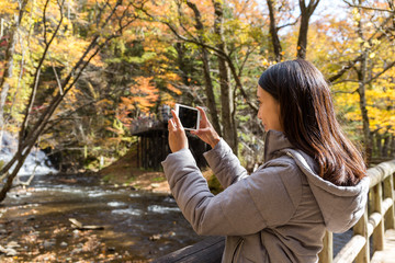 Woman taking photo with cellphone in autumn forest