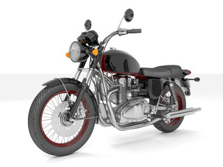 3d illustration classic black red motorcycle on a white background.