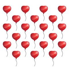 3d heart balloon background