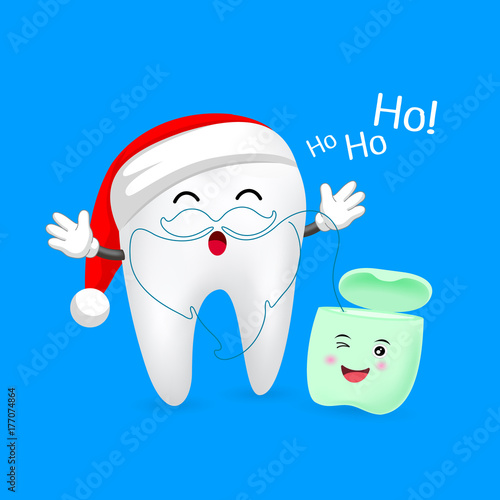 Cute cartoon tooth character with Santa hat. Dental floss in Santa ...