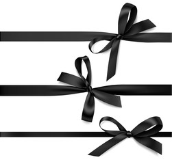 Set of black bow with horizontal black ribbon. Vector decorations