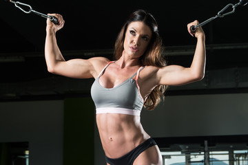 Pretty Woman Exercising Biceps In The Gym