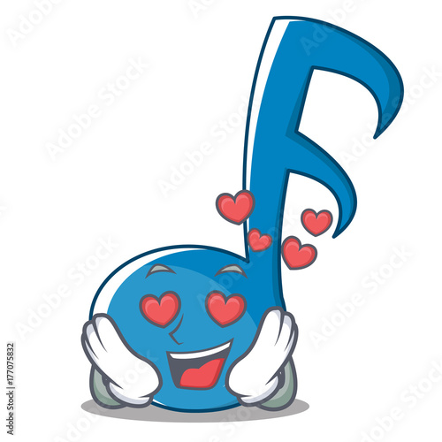 In Love Music Note Character Cartoon Stock Image And Royalty Free