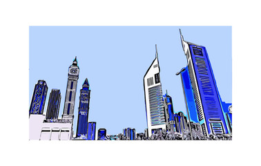 Vector illustration of  Emirates Tower in Dubai UAE.
