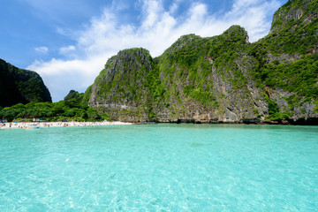Wall Murals Khaki Beautiful Maya bay of Phi Phi Islands in the morning with less tourist 2017