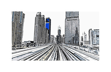 Vector illustration of  Metro Track in Dubai UAE.