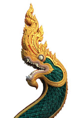 portrait green statue serpent on white background for decoration architecture thai style