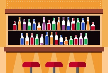 Bar interior with counter. Bar counter with stools and alcohol drink on shelves. Interior of pub, for drinking and socializing. Vector illustration.