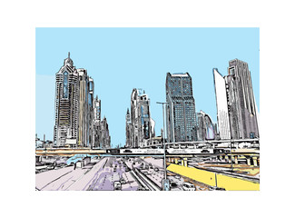 Vector illustration of  Sheikh Zayed Road in Dubai UAE.