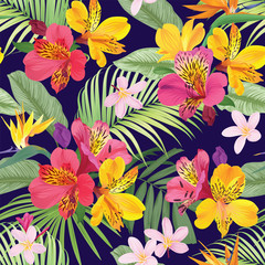 Tropical flowers seamless pattern with leaf on darkpurple background. Vector set of exotic tropical garden for wedding invitations, greeting card and fashion design.