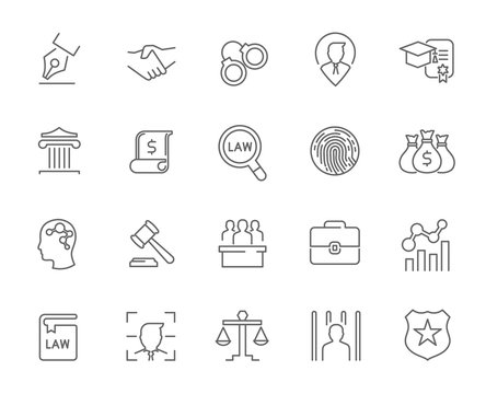 Line icons of law and lawyer services , Justice ,Business and people icon identity. Design for website mobile application infographic . Thin line icon vector set