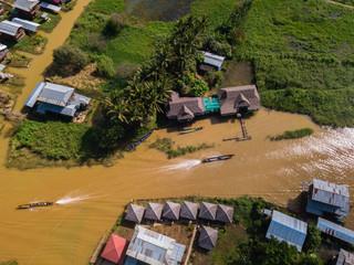 Floating village Yawa at Inle Lake,Myanmar,aerial shot