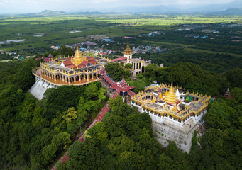 Tuinposter Luchtfoto Aerial view from the drone on the Mandalay Hill Temple.Hill that is located to the northeast of the city centre of Mandalay in Burma