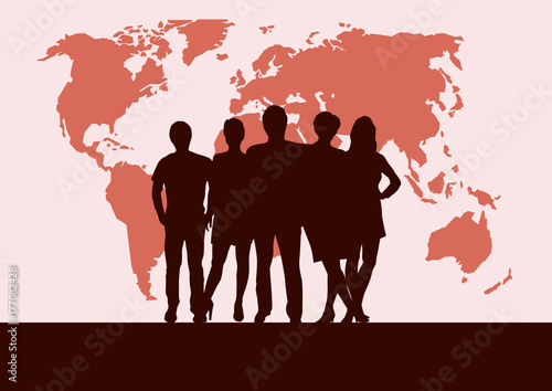 People on world map vector poster and background teamwork and people on world map vector poster and background teamwork and business concept gumiabroncs Choice Image
