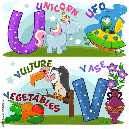 Colored cartoon English alphabet with U and V letters for