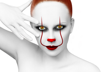 Redhead woman with scary clown grimm.