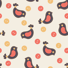 Pattern with colorful stitched birds and buttons.