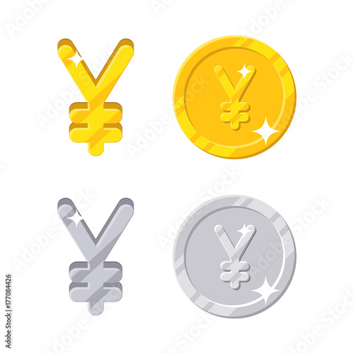 Yen Yuan Sign Gold And Silver Symbol Of Japan Or China Currency And
