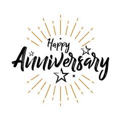 Happy Anniversary - Fireworks - Grunge, Typography, Handwritten vector illustration, brush pen lettering, for greeting
