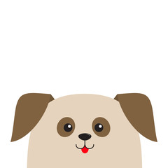 Dog puppy head looking up. Cute cartoon character. Pet baby collection. Mouth with tongue. Eyes two brown spots. Isolated. White background. Flat design.