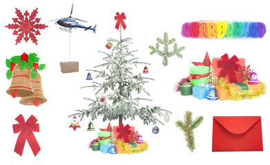Christmas gifts and items isolated on white